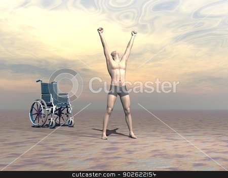 Miracle - 3D render stock photo, Happy man up from a wheelchair and manifesting hapiness to the sky with both arms up by sunset light by Elenarts