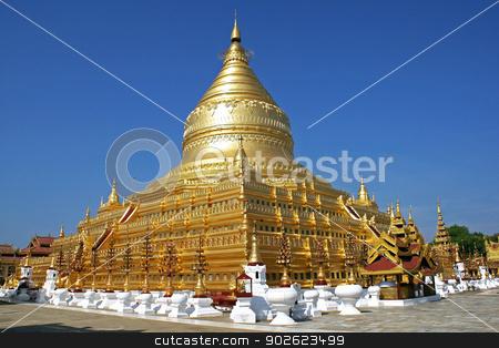Shwezigon Pagoda, Bagan, Myanmar stock photo, Beautiful golden Shwezigon Pagoda, Bagan, Myanmar, Asia by Alexander Ludwig