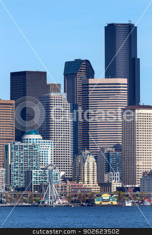 Seattle Towers Buildings Waterfront Cityscape Washington stock photo, Seattle Tower Buildings Cityscape Waterfront Skyline Washington by William Perry