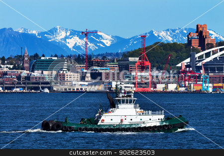 Tug Boat Seattle Port with Red Cranes and Boats Cascade Mountain stock photo, Tug Boat Seattle Port with Red Cranes and Cascade Mountains in the Background  by William Perry