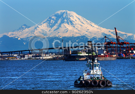 Tug Boat Seattle Port with Red Cranes and Boats Bridge Mount Rai stock photo, Tug Boat Seattle Port with Red Cranes West Seattle Bridge, and Mount Rainier in the Background  by William Perry