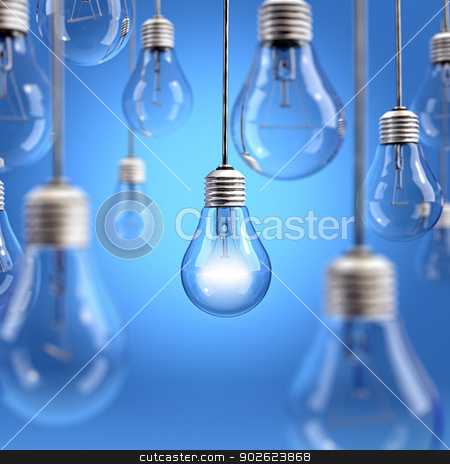 Light bulb background stock photo, Light bulbs hanging on blue background by Pedro Campos