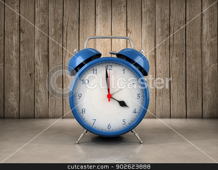 Alarm clock background stock photo, Alarm clock with wood background by Pedro Campos