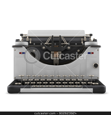 Typewriter stock photo, Typewriter isolated on white background by Pedro Campos