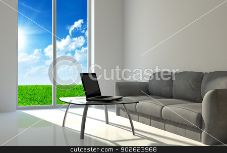 Notebook on a glass table stock photo, Notebook on a quiet room and clean weather background by Pedro Campos