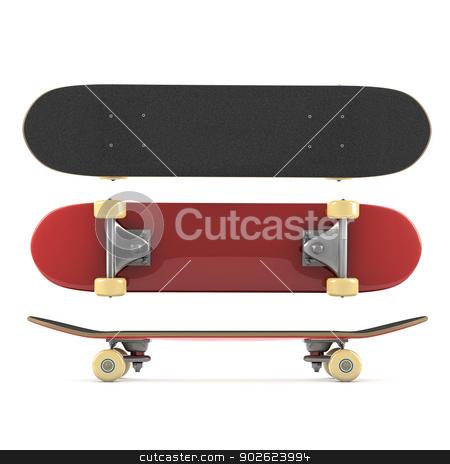 Skateboard stock photo, Skateboard isolated on white background by Pedro Campos