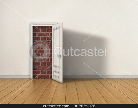 Blocked door stock photo, Room with opened door blocked by brick wall by Pedro Campos