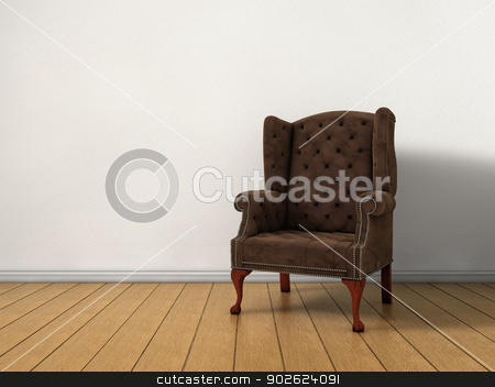 Room with sofa stock photo, White room with vintage sofa by Pedro Campos