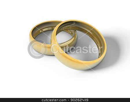 Engagement rings stock photo, Two engagement rings on white surface by Pedro Campos