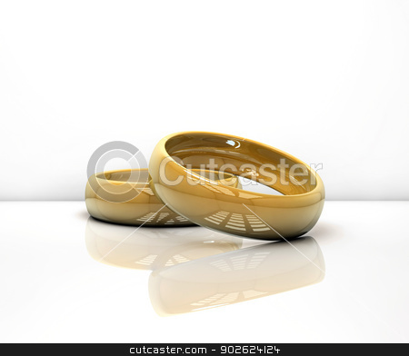 Wedding rings stock photo, Two wedding rings on white by Pedro Campos