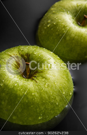 Two apples on water stock photo, Two apples inside water with cool drops by Pedro Campos