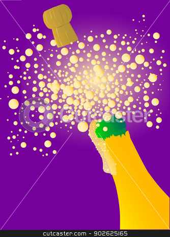 Champagne stock vector clipart, A bursting open bottle of champagne with foam and bubbles. by Kotto