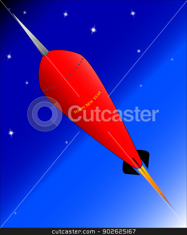 Rocket  stock vector clipart, A space rocket with the legend happy new year. by Kotto