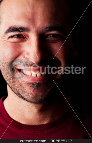 happy male man stock photo, Close detail view of a happy young male man isolated on a black background. by Mauro Rodrigues