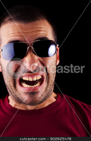 funny scared male man stock photo, Close detail view of a funny scared young male man isolated on a black background. by Mauro Rodrigues