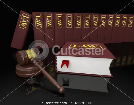 Legal library stock photo, Gavel and law books, symbols of law and legal literature by Harvepino