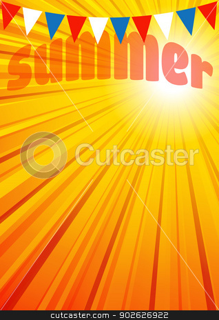 Summer Background Leaflet Flyer Poster stock vector clipart, The background has a complete circle of Sun Rays in the Vector file for you to position the Clipping Mask as you want by Fenton