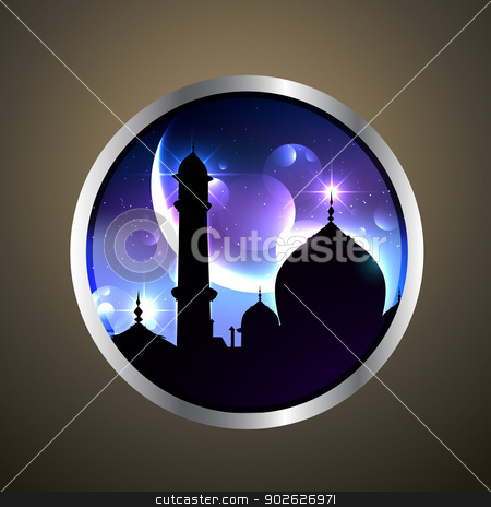 mosque label stock vector clipart, beautiful mosque vector label design by pinnacleanimates