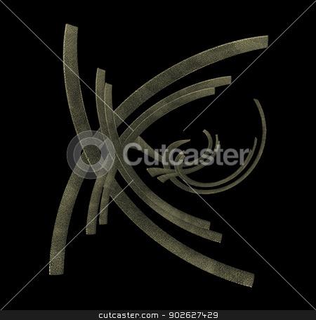 Mystic Symbol stock photo, Digital mystic graphic shape in gray tones against black background by Daniel