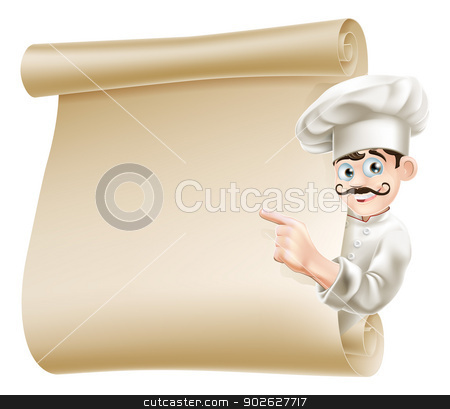 Chef pointing at menu stock vector clipart, Illustration of a happy cartoon chef pointing at menu by Christos Georghiou