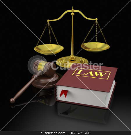 Law symbols stock photo, Gavel, scale and law books, symbols of law and legal education by Harvepino