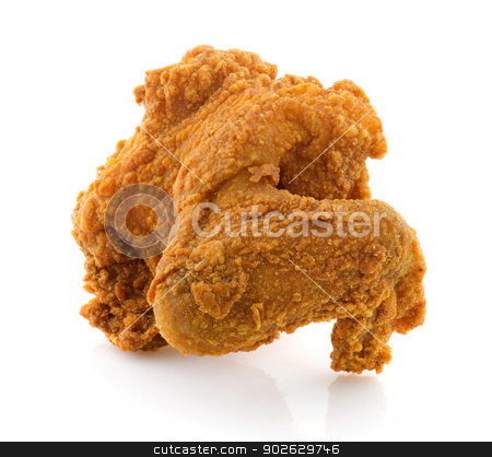 Fried chicken wing stock photo, Fried chicken wing isolated on white background. by szefei