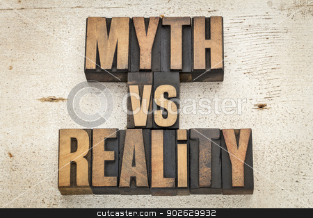 myth versus reality stock photo, myth versus reality - concept  in vintage letterpress wood type on a grunge painted barn wood background by Marek Uliasz