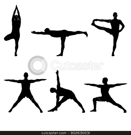 six yoga standing poses stock photo, A batch of six yoga standing poses black silhouettes by Markus Gann