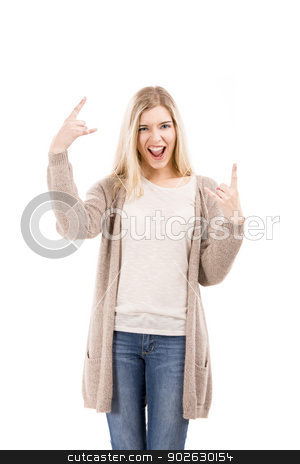 Beautiful girl with a silly face stock photo, Beautiful blonde woman with a silly face and making gestures with her hands, isolated over white background by ikostudio