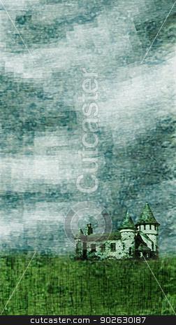 Dreamscape Illustration stock photo, Photo colage of a landscape with a castle. by Daniel