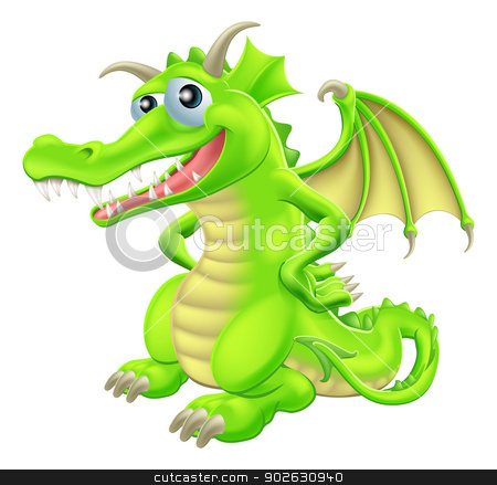 Cartoon Standing Dragon stock vector clipart, An illustration of a green cartoon happy dragon character standing with hand on hips by Christos Georghiou