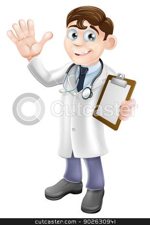 Cartoon Doctor Holding Clipboard stock vector clipart, An illustration of a friendly cartoon doctor holding a clipboard and waving by Christos Georghiou
