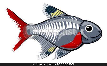 X-ray tetra cartoon fish stock vector clipart, An illustration of a cute x-ray tetra cartoon fish by Christos Georghiou