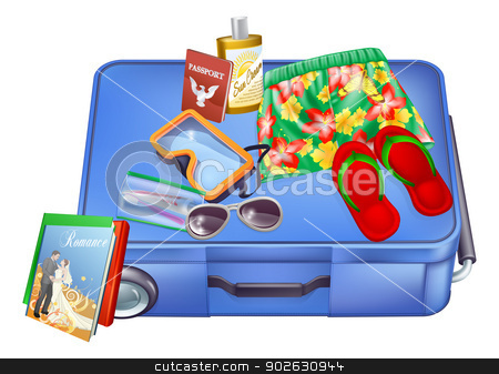 Suitcase and vacation items stock vector clipart, An illustration of a suitcase with vacation items on it ready for packing or just been unpacked. Includes passport, sunglasses, suncream, Hawaiian shorts etc. by Christos Georghiou