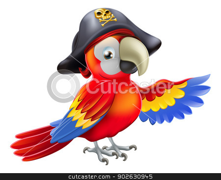 Cartoon pirate parrot stock vector clipart, A cartoon pirate parrot character with an eye patch and tricorn hat with skull and cross bones pointing with its wing by Christos Georghiou