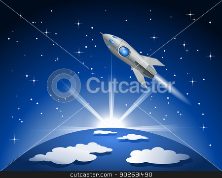 Rocket flying into space stock photo, Rocket flying into space by Jupe