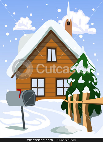 Illustration of house in snow landscape stock photo, Illustration of house in snow landscape by Jupe