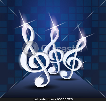 Dancing treble clef stock photo, Dancing treble clef by Jupe