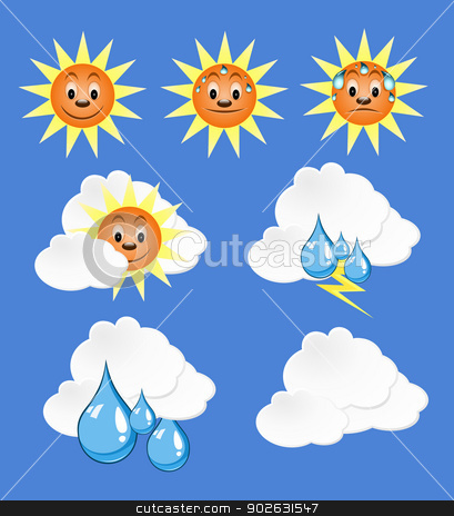 Weather Icons with blue Background  stock photo, Weather Icons with blue Background  by Jupe