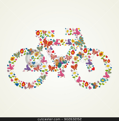 Go green spring icon bike stock vector clipart, Spring flower and butterfly icons texture in icon green bike shape composition background. Vector illustration layered for easy manipulation and custom coloring. by Cienpies Design