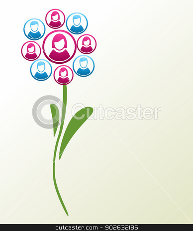 Social media people flower stock vector clipart, Social media networks flower with people profile icons petals background. Vector illustration layered for easy manipulation and custom coloring. by Cienpies Design