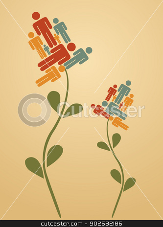 Teamwork flowers stock vector clipart, Diversity man flower with people icons petals background. Vector illustration layered for easy manipulation and custom coloring. by Cienpies Design