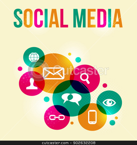 social network concept colorful background stock vector clipart, Social media icons set in colorful circle layout. EPS10 file version. This illustration contains transparencies and is layered for easy manipulation and custom coloring. by Cienpies Design