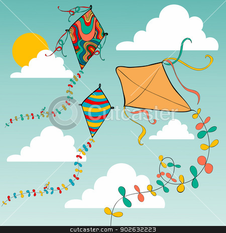 Colorful flying kites stock vector clipart, Vibrant colors spring flying kites in the sky . Vector file layered for easy manipulation and custom coloring. by Cienpies Design