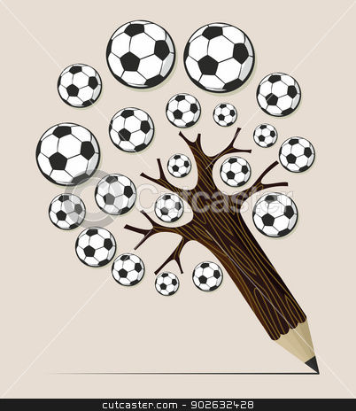 Soccer ball pencil tree concept stock vector clipart, Soccer school pencil tree idea. Vector illustration layered for easy manipulation and custom coloring. by Cienpies Design