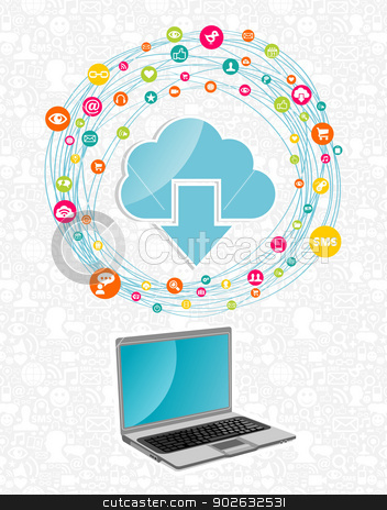 Cloud computing network concept stock vector clipart, Cloud computing network diagram with notebook. Vector illustration layered for easy manipulation and custom coloring. by Cienpies Design