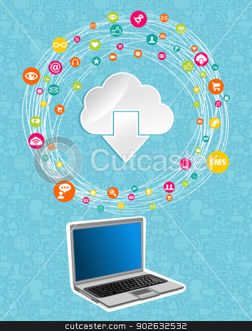 Cloud computing network concept stock vector clipart, Cloud computing network diagram. Vector illustration layered for easy manipulation and custom coloring. by Cienpies Design