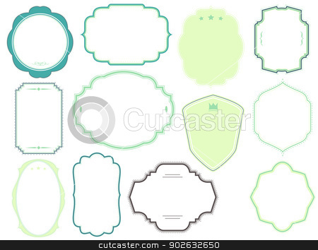 set of coloured vintage frames and labels stock vector clipart, set of coloured vintage frames and labels by SvenPowell