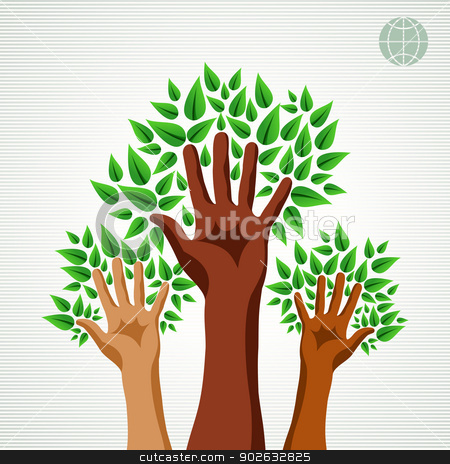 Diversity hands green concept tree stock vector clipart, Save the Earth tree idea with hands background. This illustration is layered for easy manipulation and custom coloring by Cienpies Design