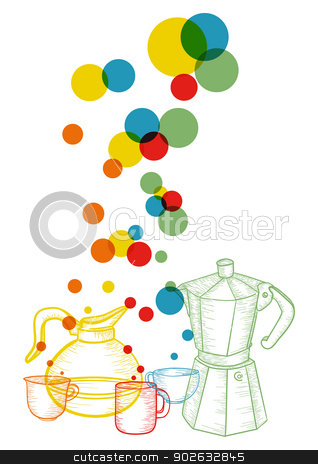 Coffee set abstract concept  stock vector clipart, Colorful abstract coffee set concept .EPS10 file version. This illustration contains transparencies and is layered for easy manipulation and custom coloring by Cienpies Design